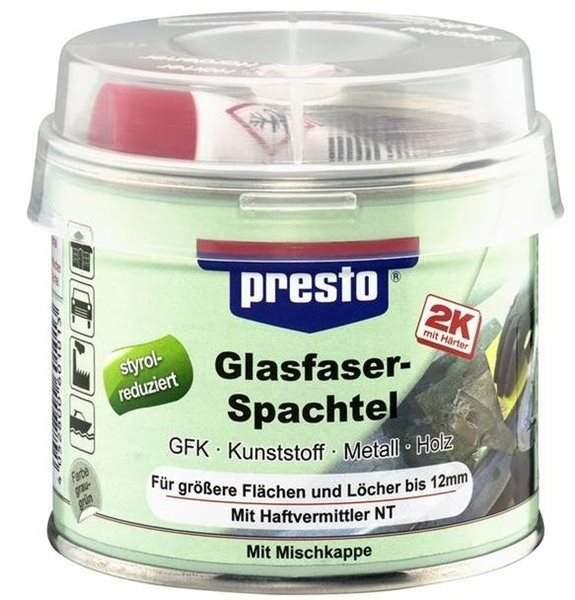 presto 2K Glasfaserspachtel 601112 1000g grau-grün Holz Beton Metall