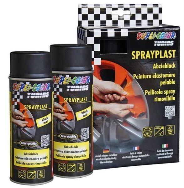 2 X 400ml Dupli-Color Abziehlack Set 388101 schwarz-matt Sprayplast Sprühfolie Abziehfolie