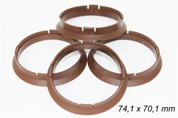 4 X Zentrierring S78 BRAUN 74,1mm x 70,1mm