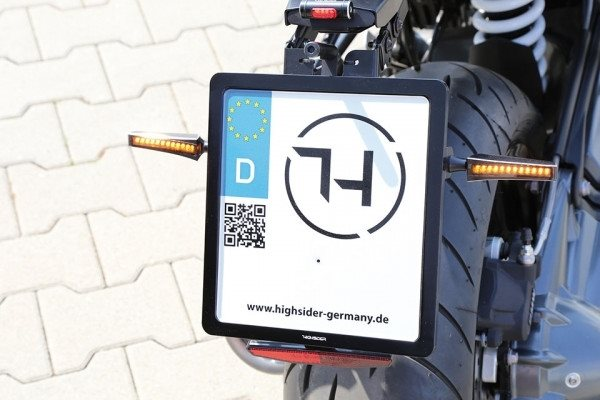 HIGHSIDER CNC Kennzeichen Halteplatte, schwarz eloxiert