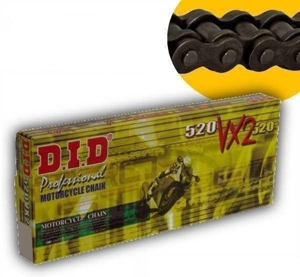 DID X-Ringkette VX2 gold / stahlfarben 520 Teilung 106 Glieder offen mit Nietschloss DID520VX2GB/106