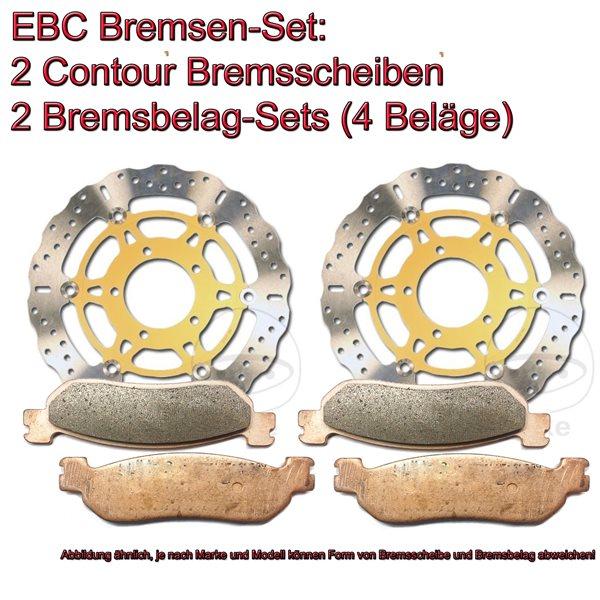 EBC Bremsen Set vorne 2x MD1132C + 2x FA244HH Sintermetall Honda CB 400 SF (F3V) Superfour (NC31)