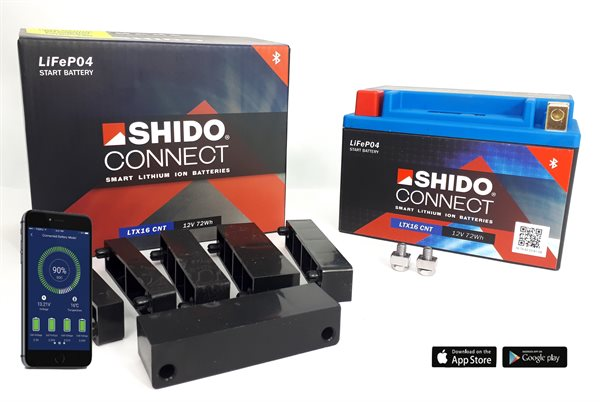 Shido Connect Smart Lithium Ionen Batterie YTX16-BS
