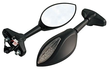 Verkleidungsspiegel mit LED Blinker, E-geprüft, Paar, Kunststoff schwarz