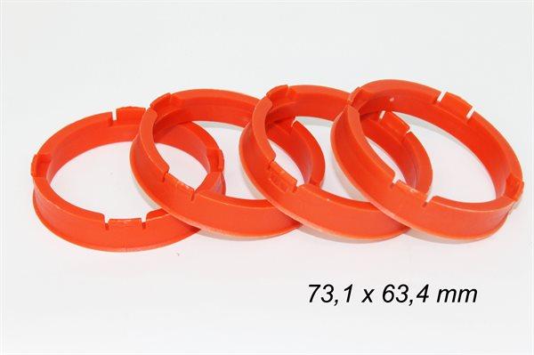 4 X Zentrierring S50 ROT 73,1mm x 63,4 mm