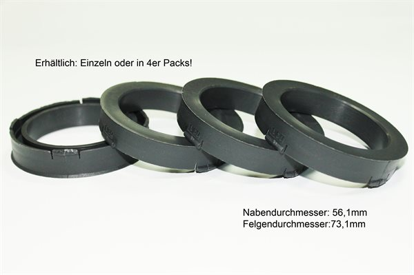 4 X Zentrierring S42 DUNKELGRAU 73,1mm x 56,1mm