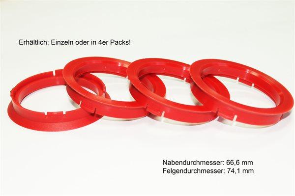 4 X Zentrierring FZ22 DUNKELROT 74,1mm x 64,1mm