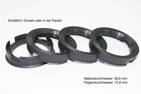 1 X Zentrierring Z20D ANTHRAZIT 72,6mm x 56,6mm