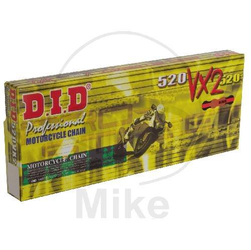 DID X-Ringkette VX2 gold / schwarz 520 Teilung 100 Glieder offen mit Nietschloss DIDG&B520VX2/100
