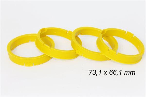 4 X Zentrierring S53 GELB 73,1mm x 66,1mm